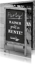 Einladung zur Rentnerfeier Party zur Rente