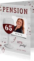 Einladung zur Rentnerfeier Weinglas mit Alter