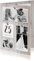 Einladung zur Silberhochzeit Fotocollage auf Holz