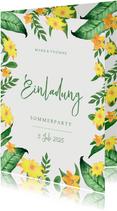 Einladung zur Sommerparty Blumen grüngelb