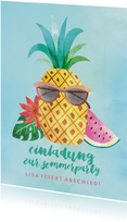 Einladung zur Sommerparty Coole Ananas