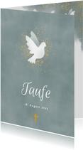 Einladung zur Taufe blau Aquarell mit Taube und Kreuz