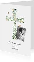 Einladung zur Taufe botanisches Kreuz und Foto