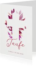 Einladung zur Taufe florales Kreuz pink