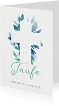 Einladung zur Taufe florales Kreuz