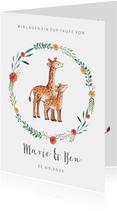 Einladung zur Taufe Geschwister Giraffen im Blumenkranz