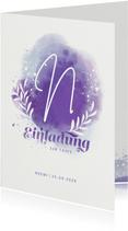 Einladung zur Taufe mit Wasserfarbe & Initialen violett