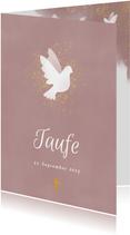 Einladung zur Taufe rosa Aquarell mit Taube und Kreuz