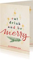 Einladung zur Weihnachtsfeier 'eat, drink and be merry'