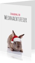 Einladung zur Weihnachtsfeier Kaninchen mit Weihnachtsmütze