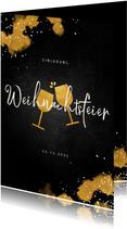 Einladung zur Weihnachtsfeier Weingläser und Goldeffekte