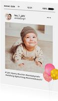 Einladungskarte 1. Geburtatag Social Media