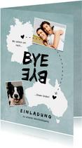 Einladungskarte Abschiedsfeier Australien