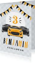 Einladungskarte drei Autos schwarz-gelb