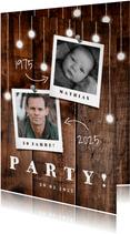 Einladungskarte Geburtstag mit Fotos, Holz und Lämpchen