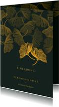 Einladungskarte Goldene Hochzeit Ginkgoblätter