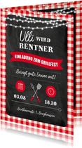 Einladungskarte Grillfest zur Rente