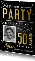 Einladungskarte hip 50. Geburtstag mit Foto und Konfetti