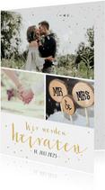 Einladungskarte Hochzeit Fotocollage, Konfetti und Timeline