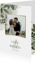Einladungskarte Hochzeit mit Foto botanisch mit Wasserfarbe