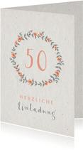 Einladungskarte Hochzeitsjubiläum Blumenkranz natürlich