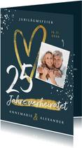 Einladungskarte Jubiläumsfeier großes Herz und Foto