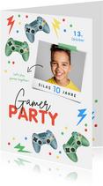 Einladungskarte Kindergeburtstag Gamer Party