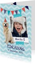 Einladungskarte Kindergeburtstag Hund und Foto