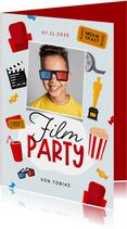 Einladungskarte Kindergeburtstag Kino mit Foto