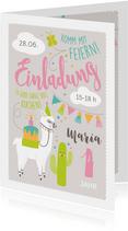 Einladungskarte Kindergeburtstag lustiges Lama rosa