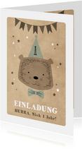 Einladungskarte Kindergeburtstag Partybär und Sterne