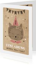 Einladungskarte Kindergeburtstag Partykatze und Sterne