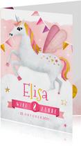 Einladungskarte Kindergeburtstag rosa Einhorn und Girlanden