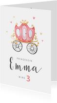 Einladungskarte Kindergeburtstag rosa Kutsche
