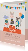 Einladungskarte Kindergeburtstag Tiere auf Siegerpodest