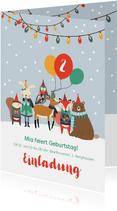 Einladungskarte Kindergeburtstag Wintertiere mit Luftballons