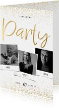 Einladungskarte Party drei Fotos und Konfetti