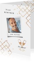 Einladungskarte Renteneintritt Foto grafisch, stilvoll gold