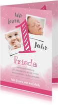Einladungskarte zum 1. Geburtstag rosa Wasserfarbe mit Fotos
