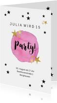 Einladungskarte zum 14. Geburtstag mit Sternen