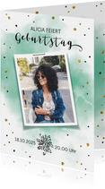 Einladungskarte zum 21. Geburtstag Wasserfarbe mit Foto