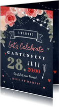 Einladungskarte zum Gartenfest Blumen und Herzen