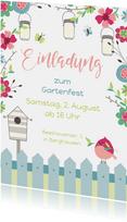 Einladungskarte zum Gartenfest Vogel & Gartenzaun