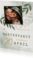Einladungskarte zum Gartengeburtstag mit Foto und Herzen