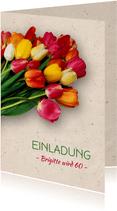 Einladungskarte zum Geburtstag Bunte Tulpen
