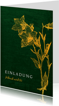 Einladungskarte zum Geburtstag Glockenblume gold