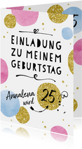 Einladungskarte zum Geburtstag Happy Dots