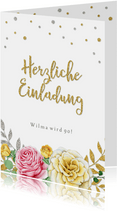 Einladungskarte zum Geburtstag klassische Rosen