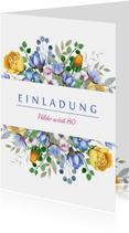 Einladungskarte zum Geburtstag mit Blumenbouquet