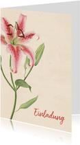 Einladungskarte zum Geburtstag mit rosa Lilie